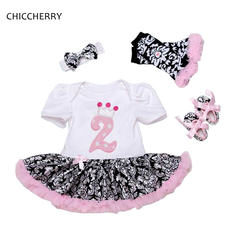 2 Years Toddler Birthday Outfits Baby Tutu Romper Dress Headband Crib Shoes Leg Warmers Baby Girl Clothes Sets Infant Clothing