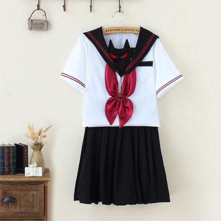 Little Demon Face Embroidery Sailor Suit COS School Wear Women School Uniform Soft Punk Lolita Darkness Devil Halloween Fashion