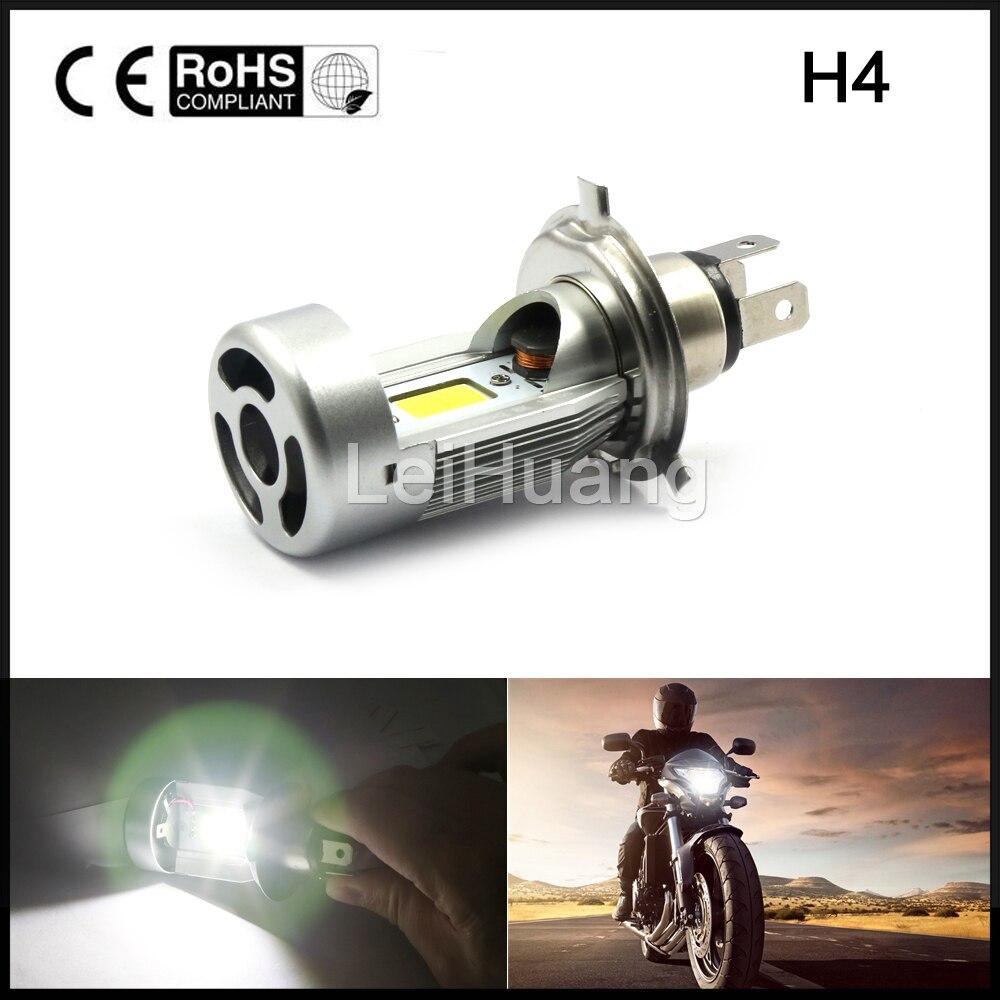 1pcs Motorcycle LED Headlight H4 hi lo 20W*2 2000LM*2 HS1 COB ATV Head lamp 6500K White Standard High Low DC12V