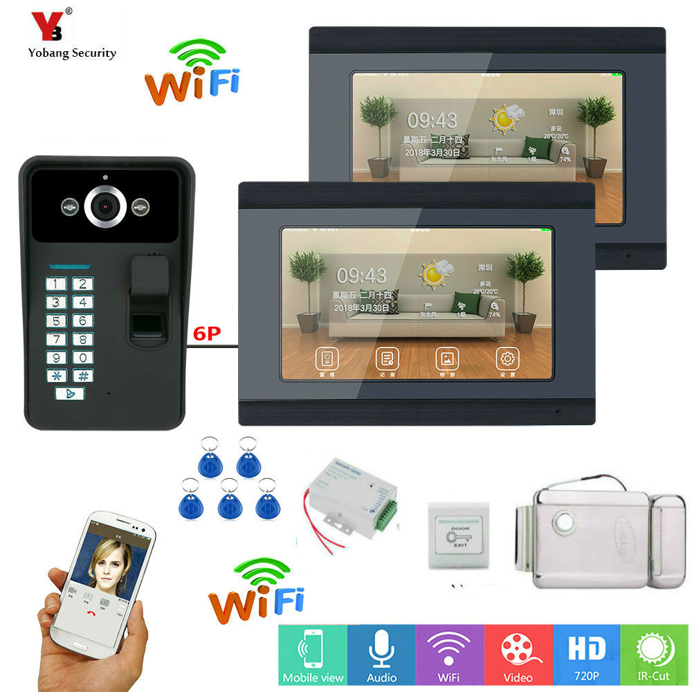 Yobang Security 7inch Video Record WIFI Video Doorbell With Indoor Monitor APP RFID  Wired Monitor, A Wireless Monitor