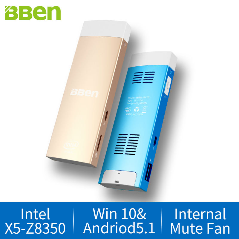 BBen Intel Mini PC de Windows 10 y Android 5.1 Intel Z8350 Quad Core 2 GB RAM 32