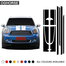 Black Side Racing Stripes Hood Rear Decal Sticker for MINI JCW Countryman John Cooper Works 2014 Only