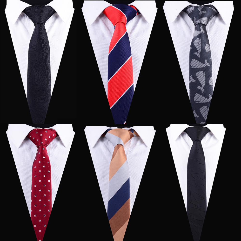 Ricnais Striped Dot Ties Slim Ties For Men 6cm Red Black Skinny Necktie Mens Fashion Casual Neck Tie For Business Wedding Gift
