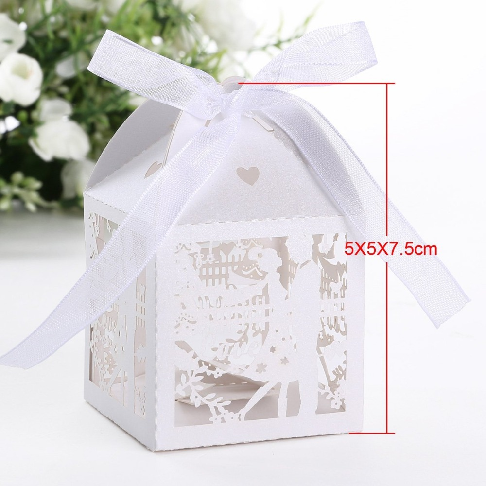 50pcs Mr&Mrs Bride and Groom Laser Cut Wedding Favor Box Candy Gift ...