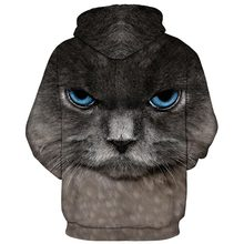 3D cat hoodie big blue eyes cat