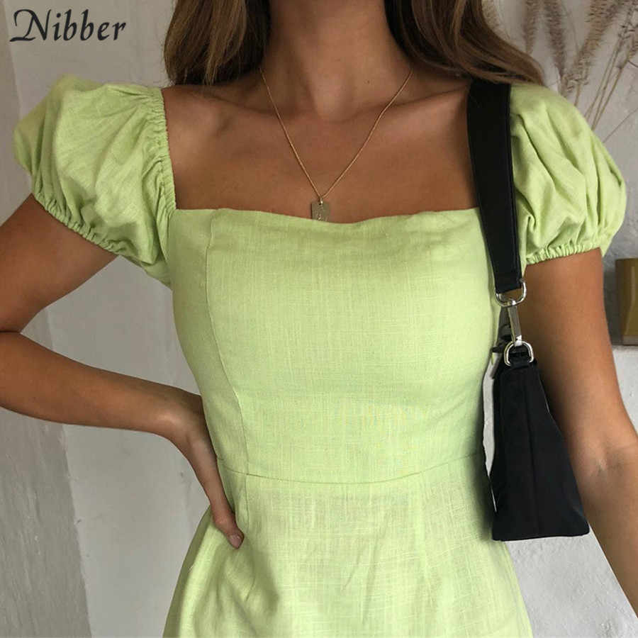 Nibber French romance Elegant mini dresses women 2019summer office ladies High street Beach leisure vacation short dresses mujer