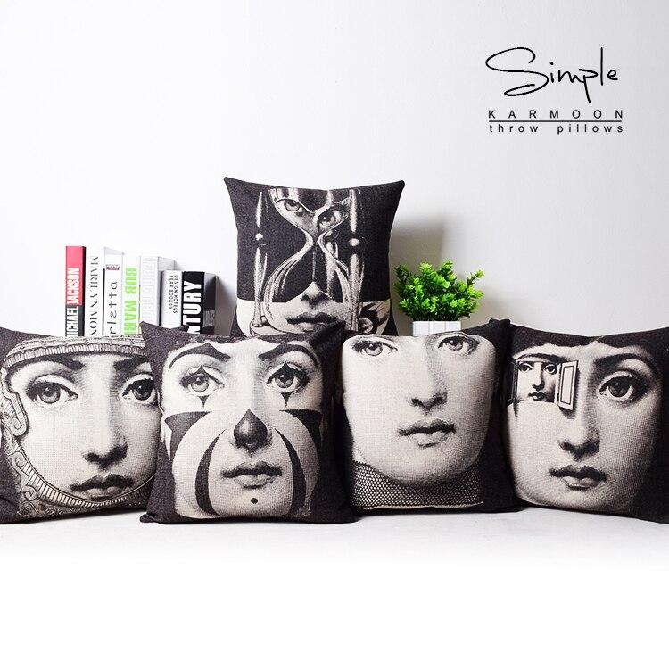 High Quality Home Textile Milan Fornasetti Design Cotton Linen Artistic Pillow case Fornasetti Pillowcase Fornasetti Cushions in Pillow Case from Home Garden