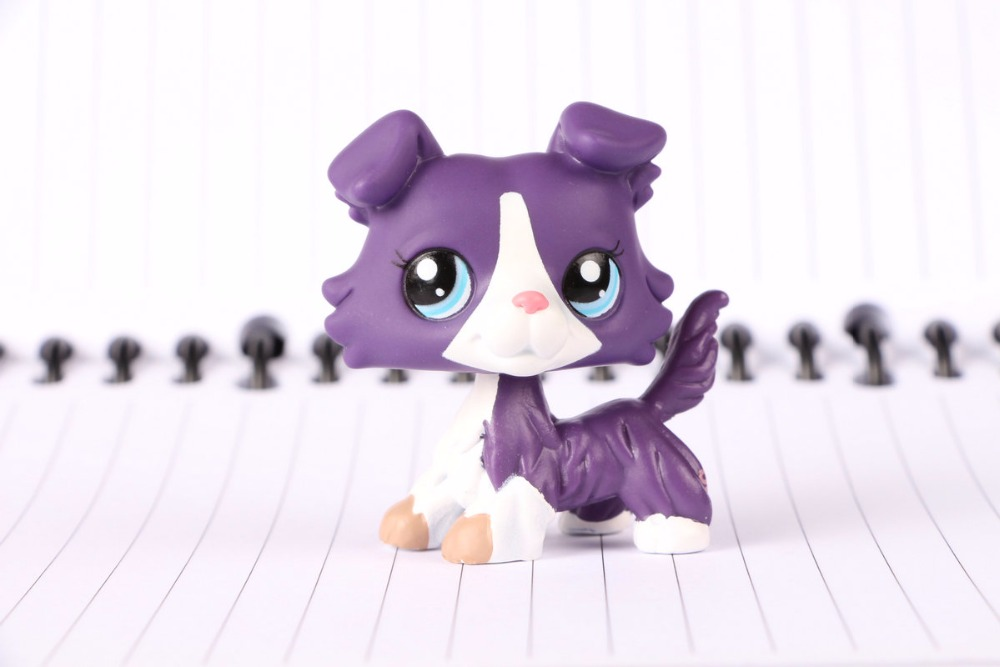 New Pet Collection Figure LPS #1676 Calendar Purple Collie Puppy Dog Kids Toys 12pcs set children kids toys gift mini figures toys little pet animal cat dog lps action figures