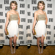 Sexy Kurzen Gold Pailletten Prom Kleider Weiß Chiffon Abendkleid Taylor Trägerlosen Kleid Mädchen Prom Kleider Kleider Für Prom RM40