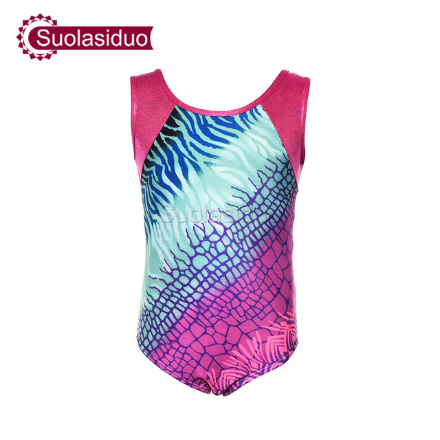 a02ebd378 Girls Ballet Skate Leotards Toddler Shiny Metallic Gymnastics ...