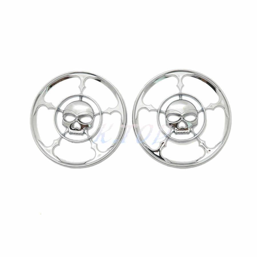 1 Para Chrome Schädel Lautsprecher Trim Grill Abdeckung Für Harley Touring Electra Street Glide 1996-2013