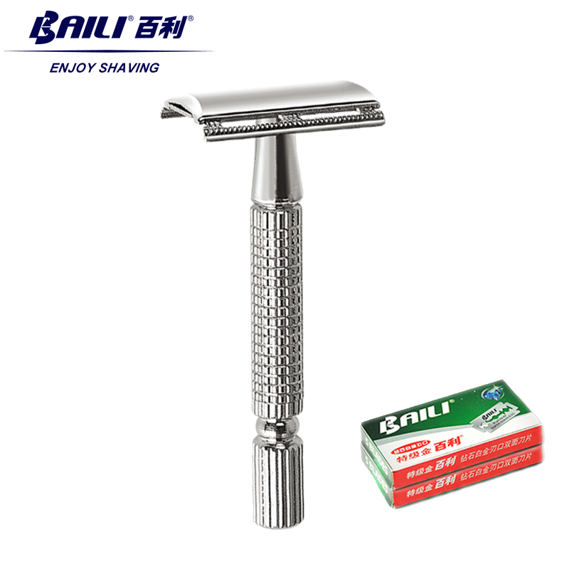 BAILI Classic Traditional Double Edge Blade Safety Shaving Razor Shaver For Men +11 Blades 1 Travel Case Gift Box BT171+BP001B