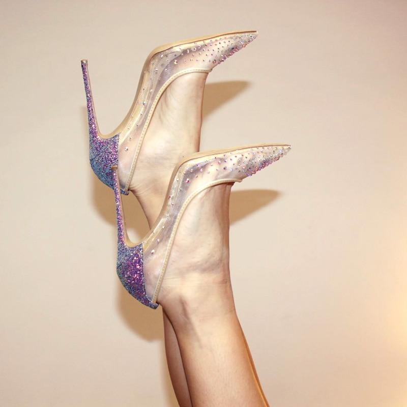 DorisFanny Wedding <font><b>shoes</b></font> Crystals purple High Quality Women Pumps 8 10 12cm Glitter High Heels Woman Party <font><b>shoes</b></font>