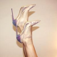 DorisFanny Wedding shoes Crystals purple High Quality Women Pumps 8 10 12cm Glitter High Heels Woman Party shoes