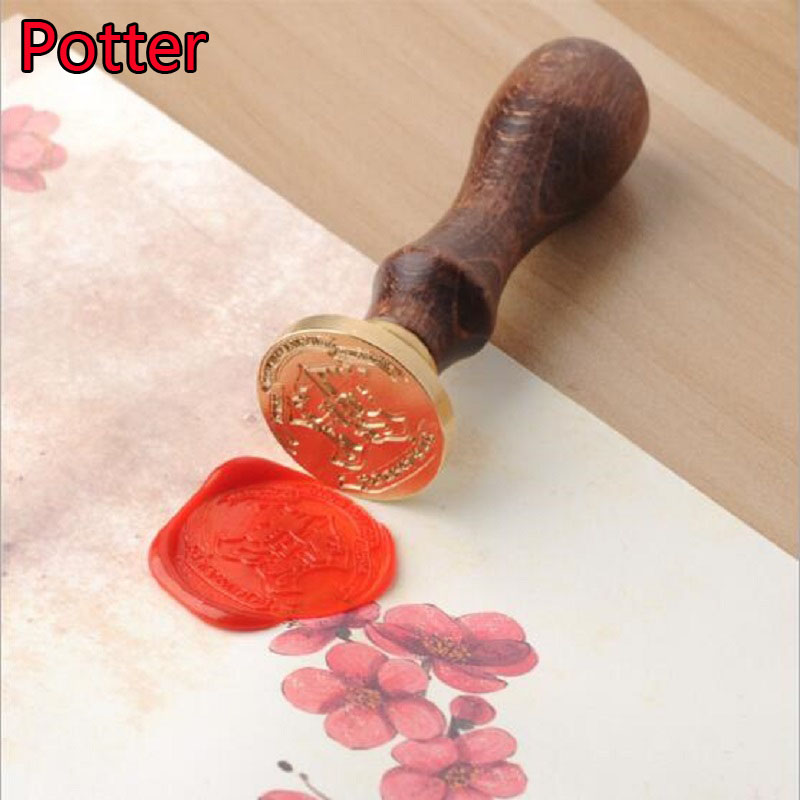 Harri Potter Wooden Fire Seal Anime Figure Toy Harri Potter Magic World Cosplay Stamp Toys Children Birthday Gift personalized custom 2 5cm wax seal stamp wedding logo initials birthday gift stamp with wooden handle by free shipping