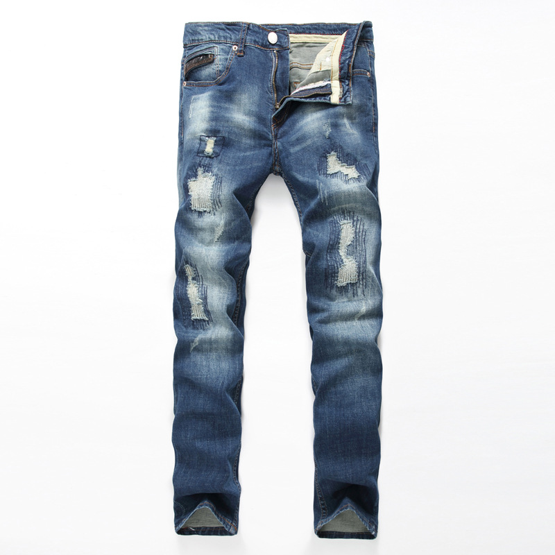 New Arrival Fashion Men s Water washed Hole Meth Straight Denim Pants Blue Ripped Jeans Pant