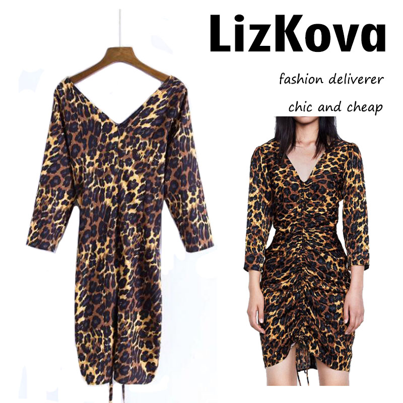 2018 Autumn V-neck Leopard Print Sheath Dress Sexy Club Wear Three Quarter Sleeve Backless Party Dress Slim Waist