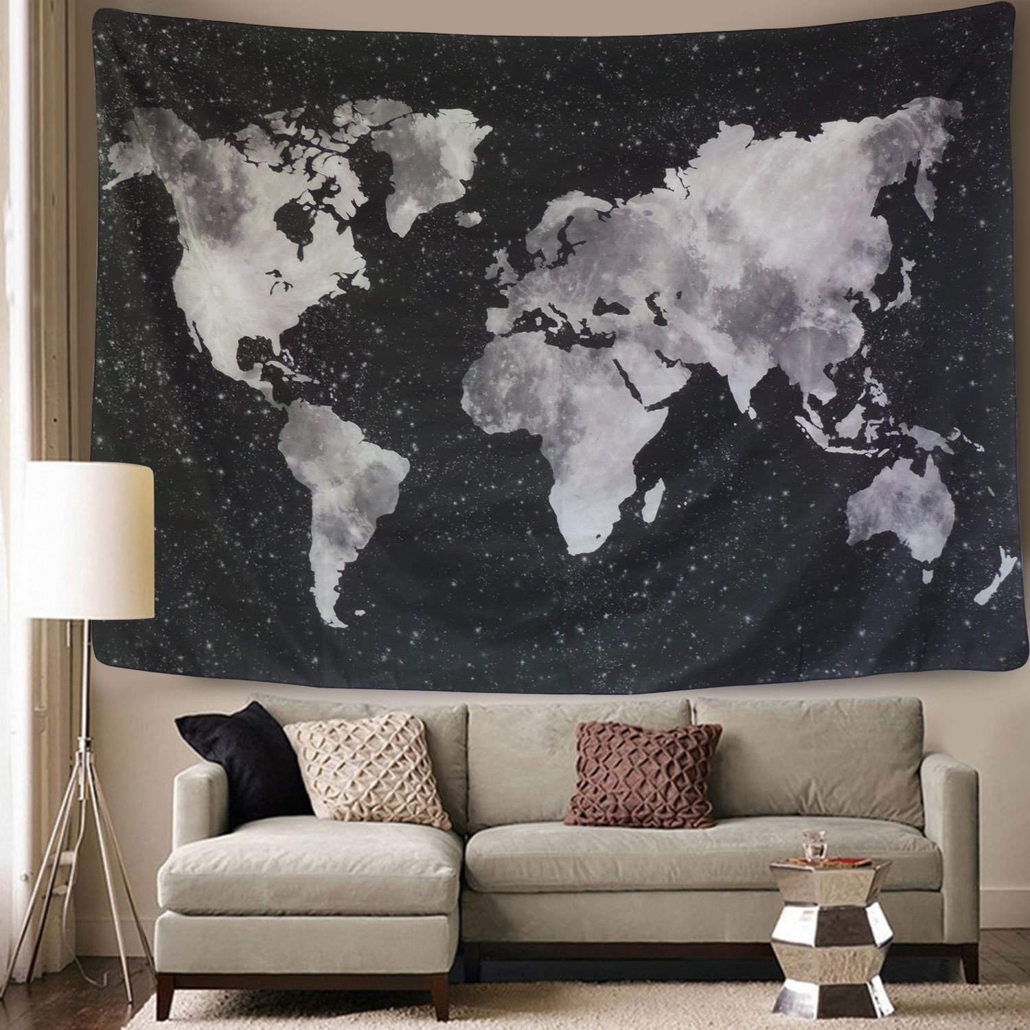 World Satellite Map Tapestry New Room Wall Art Hanging Tapestries Family Decor