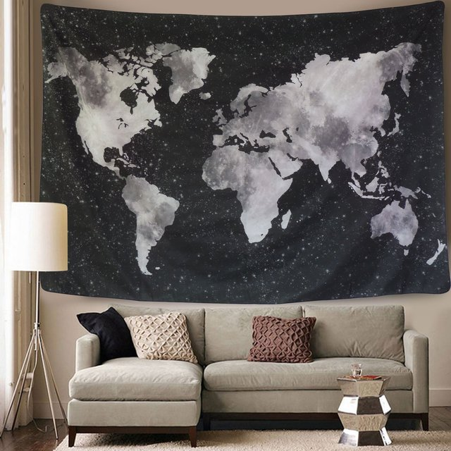 Starry World Map Tapestry Black White Abstract Painting Wall
