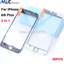 For iPhone 6 plus cold press 3 in 1 Front Outer Glass with Frame OCA Film Replacement for iPhone 6 Broken Screen Repair 30PCS