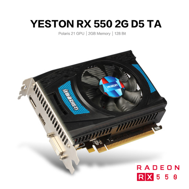 Yeston Radeon RX 550 GPU 2GB GDDR5 128bit Gaming Desktop computer PC Video Graphics Cards support DVI-D/HDMI PCI-E 3.0 3