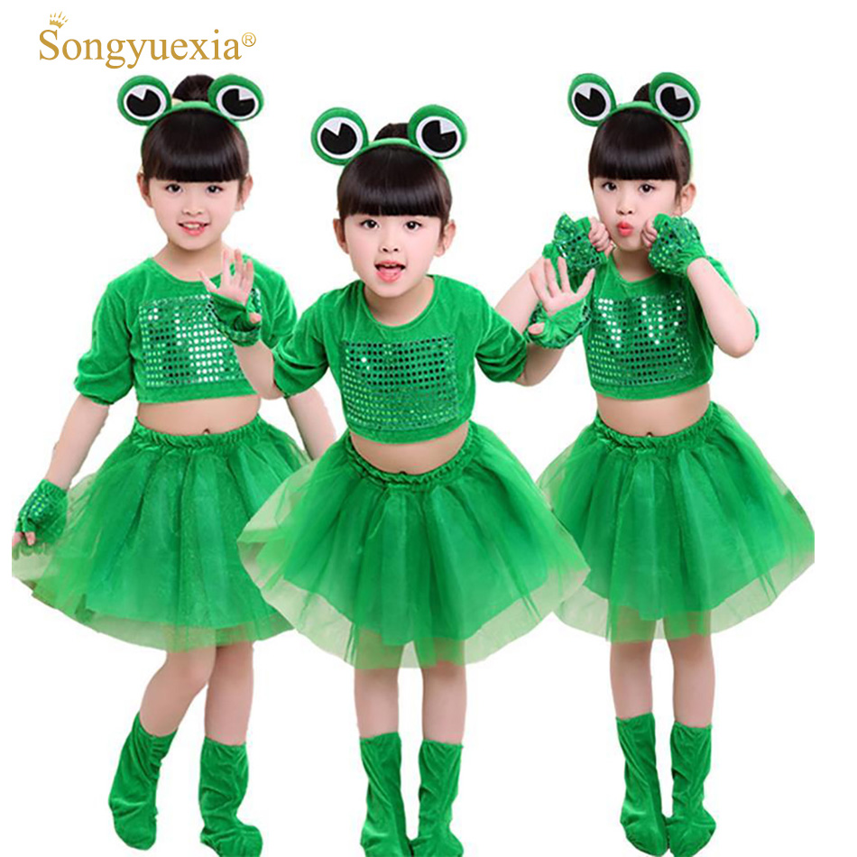 a11d93a41 Children's Small Frog Performance Costume 2017 Long-sleeved Animal Clothing  Sequined Tutu Skirt for Boys