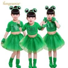 2017 Kanak-kanak Prestasi pakaian Kanak-kanak Kecil Frog Show Pakaian Gadis dan kanak-kanak lelaki lengan panjang Pakaian haiwan sequin skirt tutu