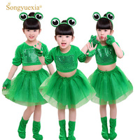 2017 Children Performance Costumes Child Small Frog Show Clothing Girl And Boy Long Sleeves Animal Costumes