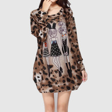 New 2015 fashion women winter dress Plus size 3XL 4XL long sleeve tunic leopard print cute