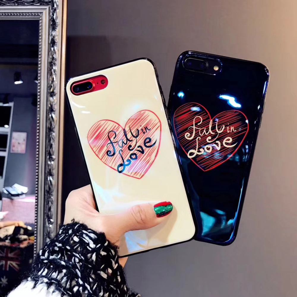 "(1PC) <font><b>Blu-ray</b></font> new cute <font><b>fall</b></font> in love Phones Case for Apple iPhone X 5.8"" 6 6s plus 7 8 IMD Back Cover Fundas Coque tpu soft cases"