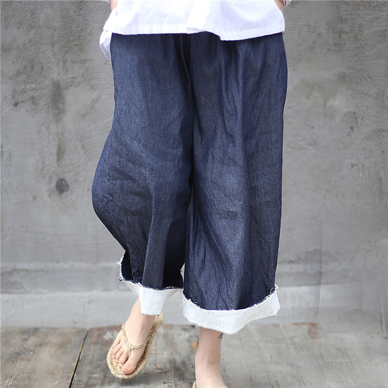 ORIGOODS Blue Denim   Pants   Women Plus size Denim Trousers Original design Loose Casual Vintage   Pants     Capris   D031