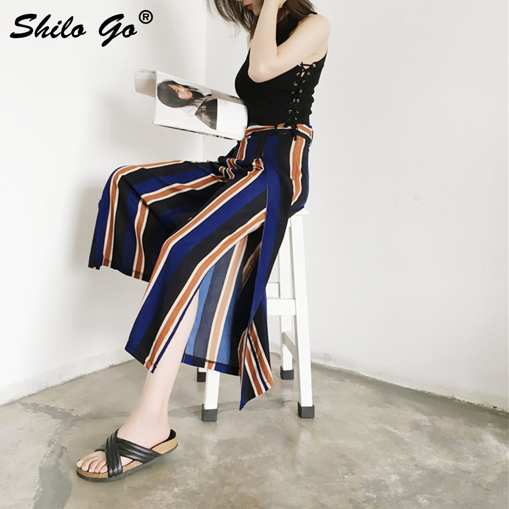Boho stripe print high waist wide leg   pants   Women trousers sash casual   pants   female beach summer ladies   pants     capris