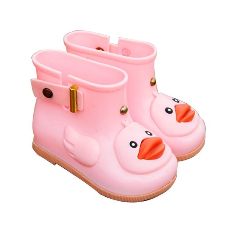 Mini Melissa 2018 New Cute Girls Duck Rain Boots Shoes Baby Boys Jelly Shoes Boots Mini Melissa Kids Anti Skid Water Shoes Boots