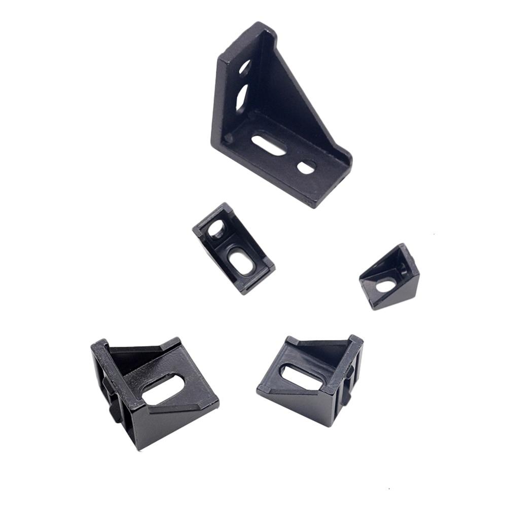 1PC 2020 Corner Bracket Fitting Black Angle Aluminum Connector 2028 3030 3060 4040 For Industrial Aluminum Profile