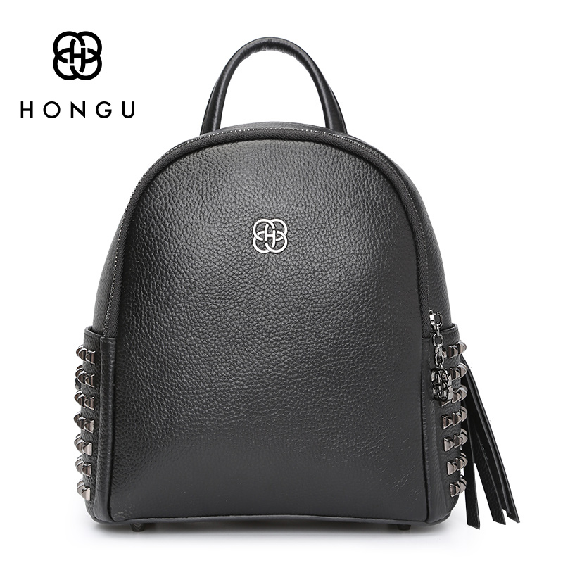 HONGU Genuine Leather Luxury Women Backpack Travel School Bags For Teenage Girls Small Backpack Rivet Casual Daypacks mochilas