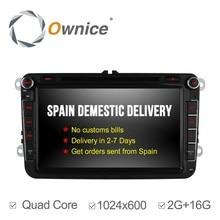 Ownice 2 din Android 4.4 para VW/Volkswagen passat b6 golf caddy tiguan Quad Core 2G RAM HD1024 * 600 Reproductor de DVD Del Coche de navegación GPS
