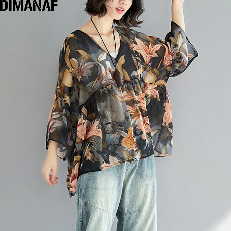 DIMANAF Women Summer   Blouse     Shirts   Plus Size Femme Lady Elegant Chiffon Loose Tops Large Clothing Print Floral Batwing Tees 2018