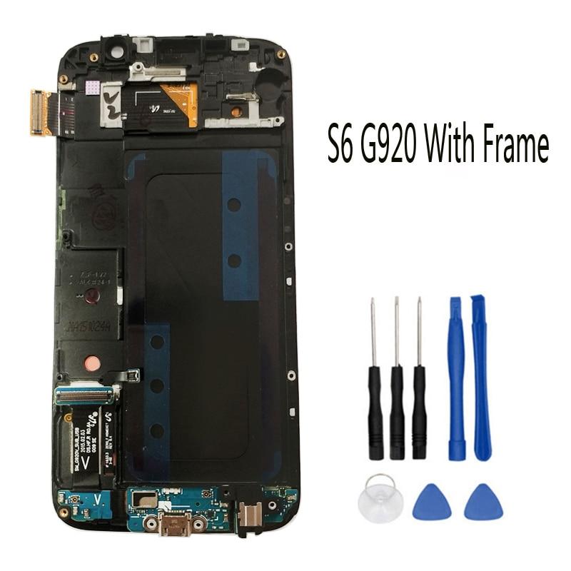 Super AMOLED LCD Pour Samsung GALAXY S6 G920 G920F LCD Avec Cadre D'affichage D'assemblée de Convertisseur Analogique-Numérique D'écran Tactile + Outils + ruban