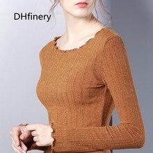 DHfinery Sequin t shirt women autumn winter long sleeve turtleneck tshirt Ruffle Knitting elasticity Multicolor  sg27325