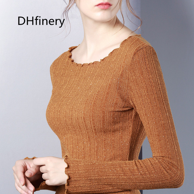 DHfinery Sequin t shirt women autumn winter long sleeve turtleneck tshirt Ruffle Knitting elasticity Multicolor  sg27325