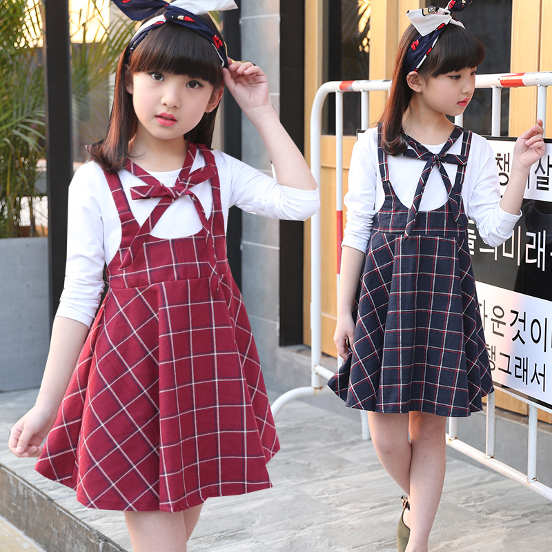 Cotton Spring Autumn Girls Dress Long Sleeve Overalls Plaid Bow Tie Shoulder-strap Dresses Child Girl One-piece Kids Clothing 2017 spring autumn baby girl princess one piece dress 100% cotton one piece dress baby clothing sweater dress child outerwear