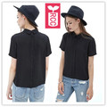RCC Unique Newest 2016 Chiffon Before and after anti wear button short blouse womens Loose tops tees shirts Summer