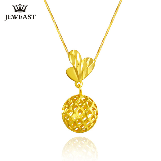 2017 New 18K Pure Yellow Gold Charm Au750 Necklace Trendy Fashion Classic Pendants Lucky Bead Woman Girl Hot Selling Simple