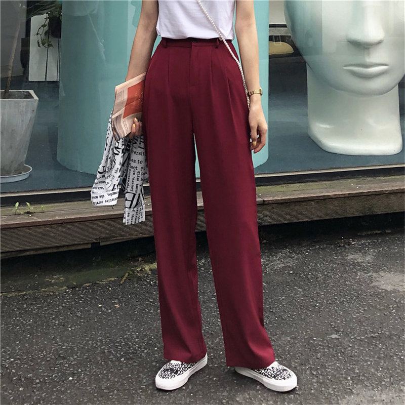 HziriP Korea Chic Casual Fashion Texture 2019 Summer Loose Solid Women Brief Straight Full   Wide     Leg     Pants   2 Colors Large Size