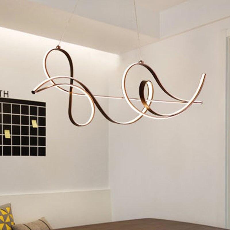 Acabamento de café lâmpada pendurada moderna led lustre para cama  sala jantar cozinha luminária suspensão pingente lumináriaLustres   -