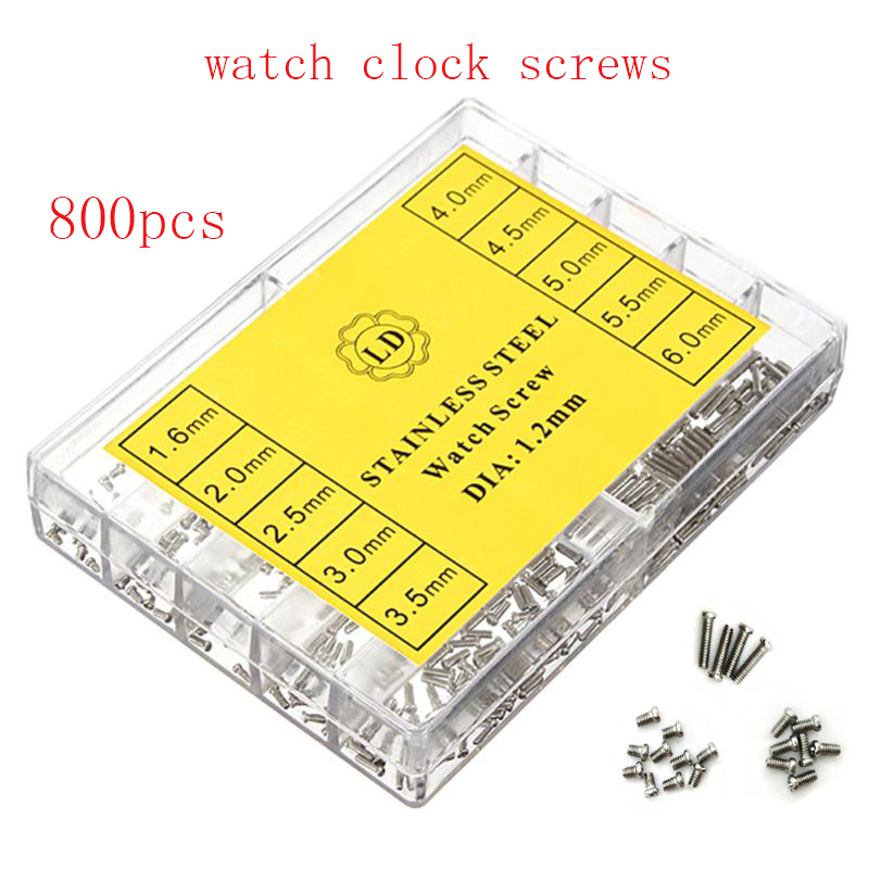 800Pcs/set Tiny Assortment For Clock Watch Eye Glasses Screws Repair Kit Tool watch for parts Repair Kit Tools Kit Watchmaker no 6730 watch bracelets bands screws removal tool watcch strap screws remover for watchmaker