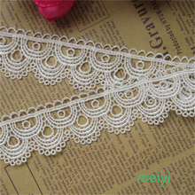 3 Meters 3.6cm Off White Polyester Scallop Lace Edge Trim Ribbon Fabric Embroidered Applique Sewing Craft Wedding Dress Clothes