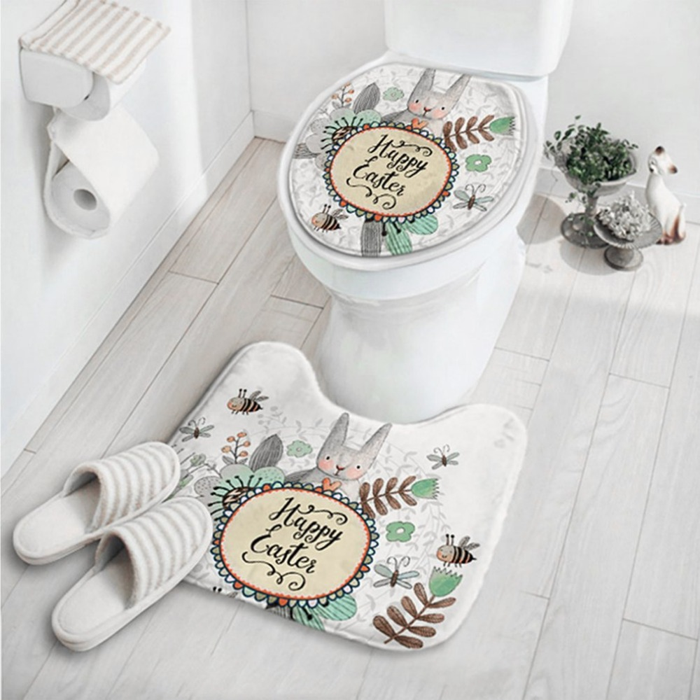 2pcs/set Cute Cartoon Rabbit Animal Pattern Bathroom Set Carpet Absorbent Non-Slip Pedestal Rug Lid Toilet Cover Mat