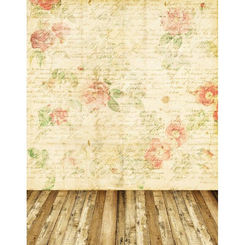 TR 8x8FT Flower Pattern Letter Brick Wall Wood Floor Photography Studio Prop Wedding Backgrounds Newborn Baby Children Backdrops