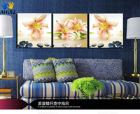 Free Shipping Canvas Painting wall art lily golden flowers 3 Piece Art Cheap Picture Home Decor On Canvas Modern Wall Prints